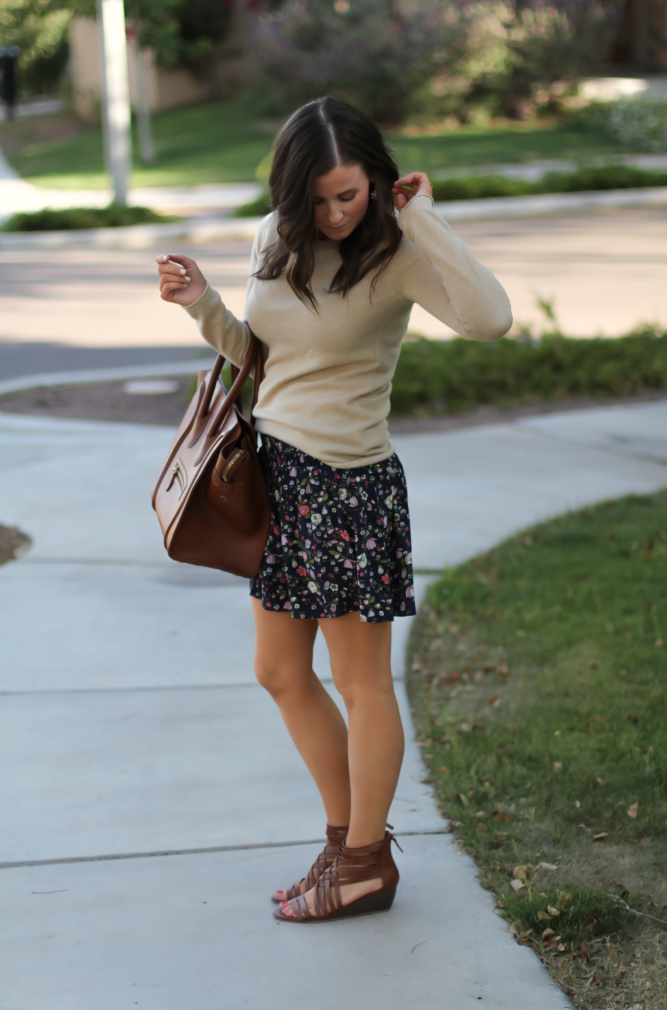 Navy Floral Shorts, Tan Cashmere Sweater, Brown Gladiator Sandals, Brown Leather Tote, Rebecca Taylor, J.Crew, Candies, Celine 5