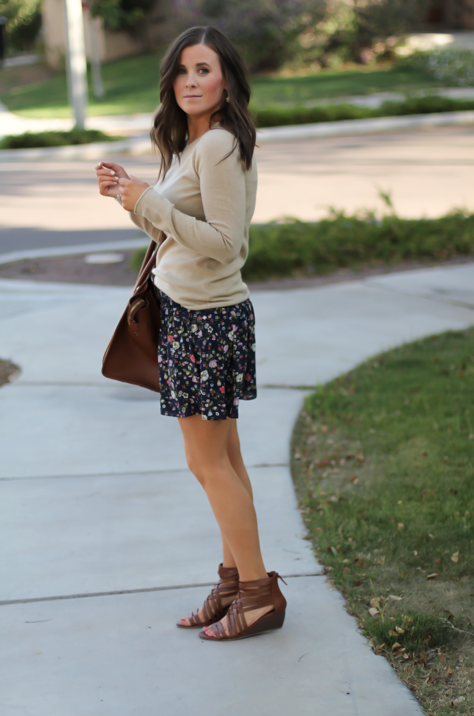 Navy Floral Shorts, Tan Cashmere Sweater, Brown Gladiator Sandals, Brown Leather Tote, Rebecca Taylor, J.Crew, Candies, Celine 6