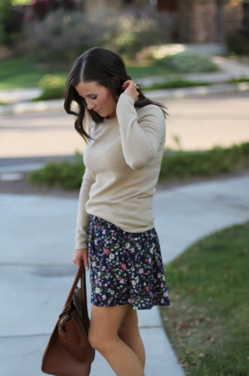 Navy Floral Shorts, Tan Cashmere Sweater, Brown Gladiator Sandals, Brown Leather Tote, Rebecca Taylor, J.Crew, Candies, Celine 8
