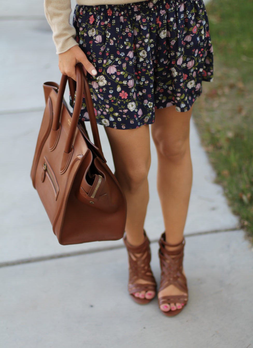 Navy Floral Shorts, Tan Cashmere Sweater, Brown Gladiator Sandals, Brown Leather Tote, Rebecca Taylor, J.Crew, Candies, Celine 9