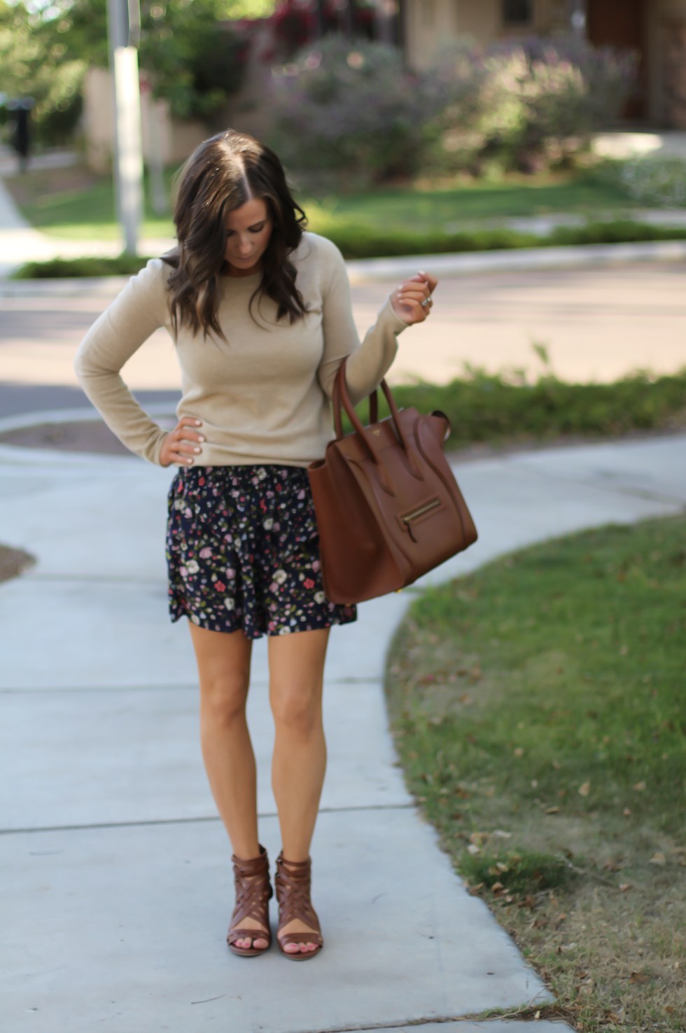 Navy Floral Shorts, Tan Cashmere Sweater, Brown Gladiator Sandals, Brown Leather Tote, Rebecca Taylor, J.Crew, Candies, Celine