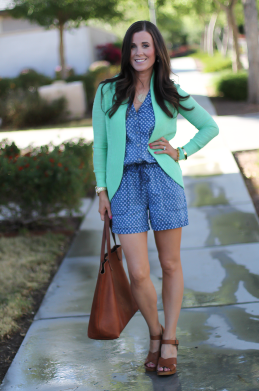 Polka Dot Chambray Romper, Green Summer Cardigan, Cognac Wedges, Cognac Tote, Anthropologie, Lilly Pulitzer, Madewell 10