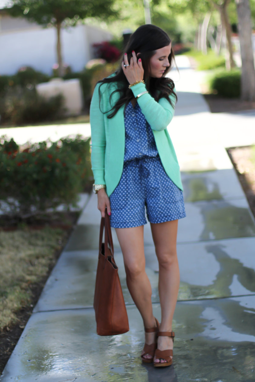 Polka Dot Chambray Romper, Green Summer Cardigan, Cognac Wedges, Cognac Tote, Anthropologie, Lilly Pulitzer, Madewell 2