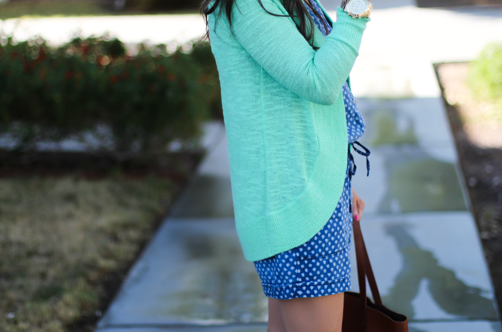 Polka Dot Chambray Romper, Green Summer Cardigan, Cognac Wedges, Cognac Tote, Anthropologie, Lilly Pulitzer, Madewell 4