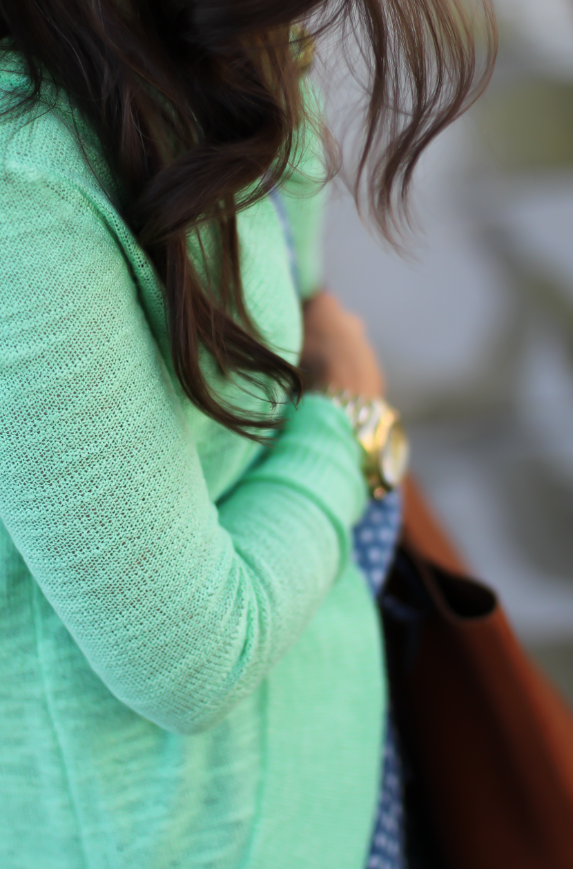 Polka Dot Chambray Romper, Green Summer Cardigan, Cognac Wedges, Cognac Tote, Anthropologie, Lilly Pulitzer, Madewell 8