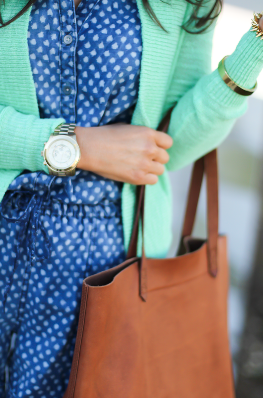 Polka Dot Chambray Romper, Green Summer Cardigan, Cognac Wedges, Cognac Tote, Anthropologie, Lilly Pulitzer, Madewell 9