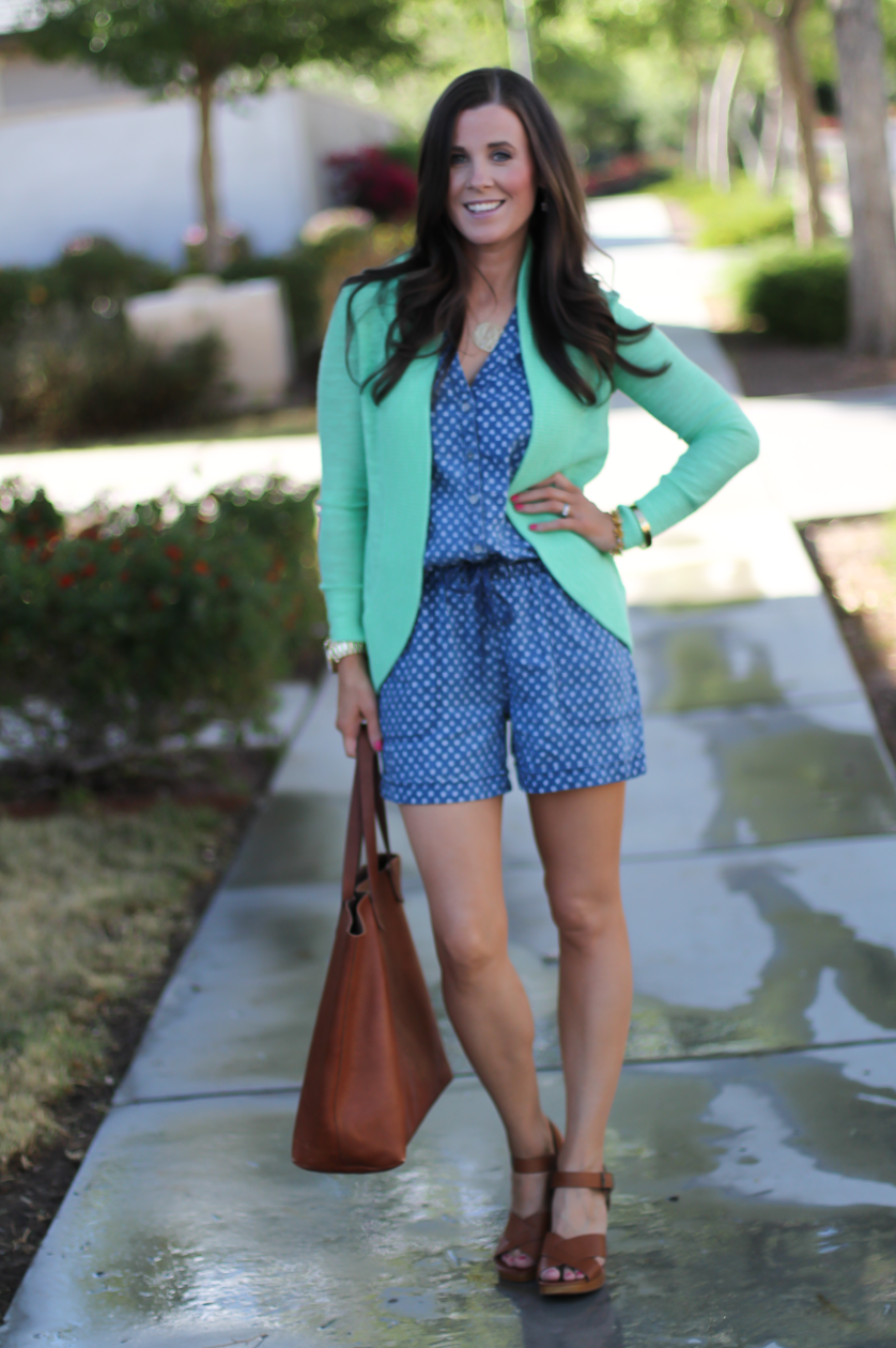 Polka Dot Chambray Romper, Green Summer Cardigan, Cognac Wedges, Cognac Tote, Anthropologie, Lilly Pulitzer, Madewell