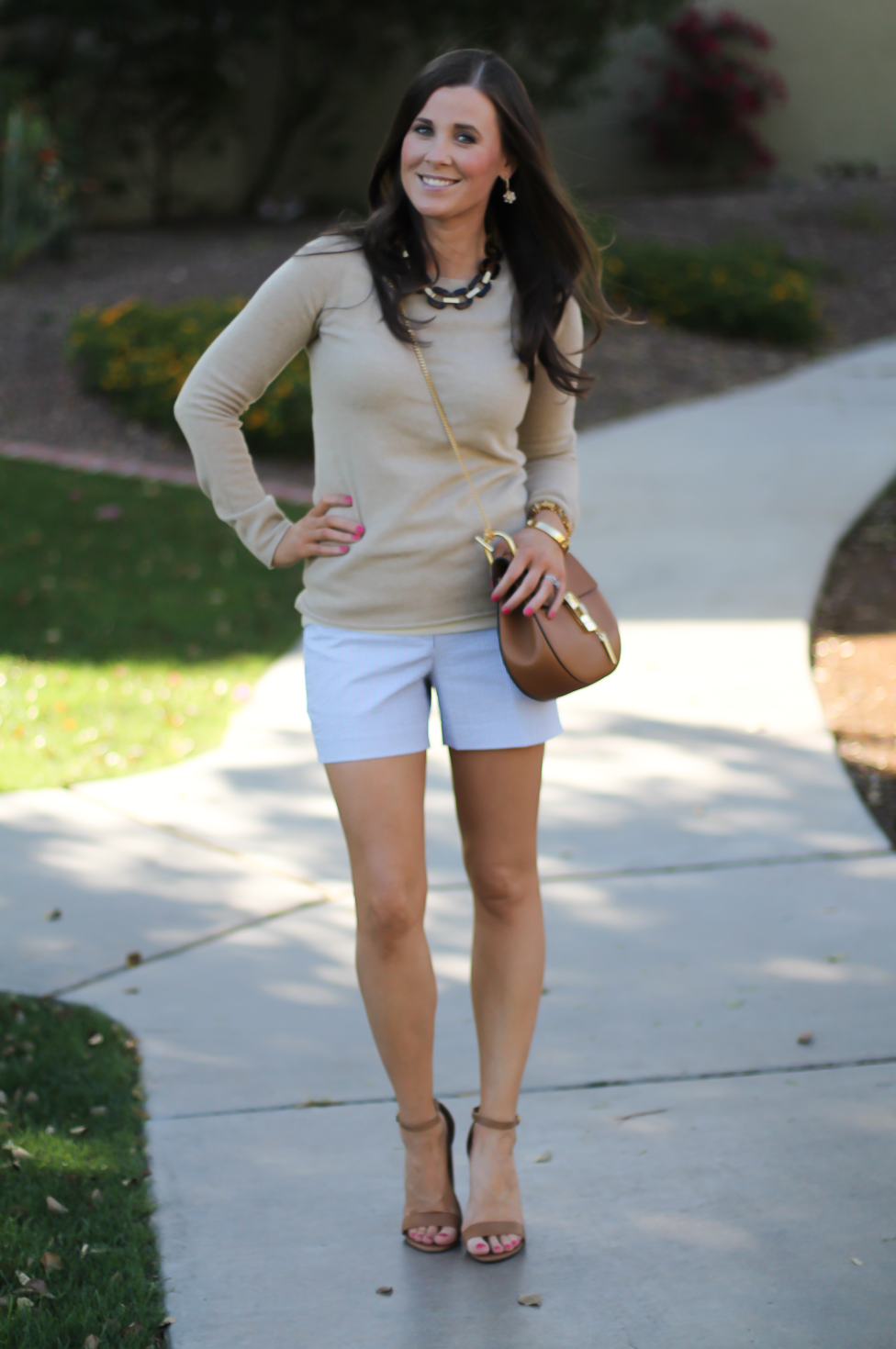 Seersucker Shorts, Tan Cashmere Sweater, Tan Leather Ankle Strap Heels, Tan Leather Chain Strap Bag, Ann Taylor, J.Crew, Steve Madden, Chloe