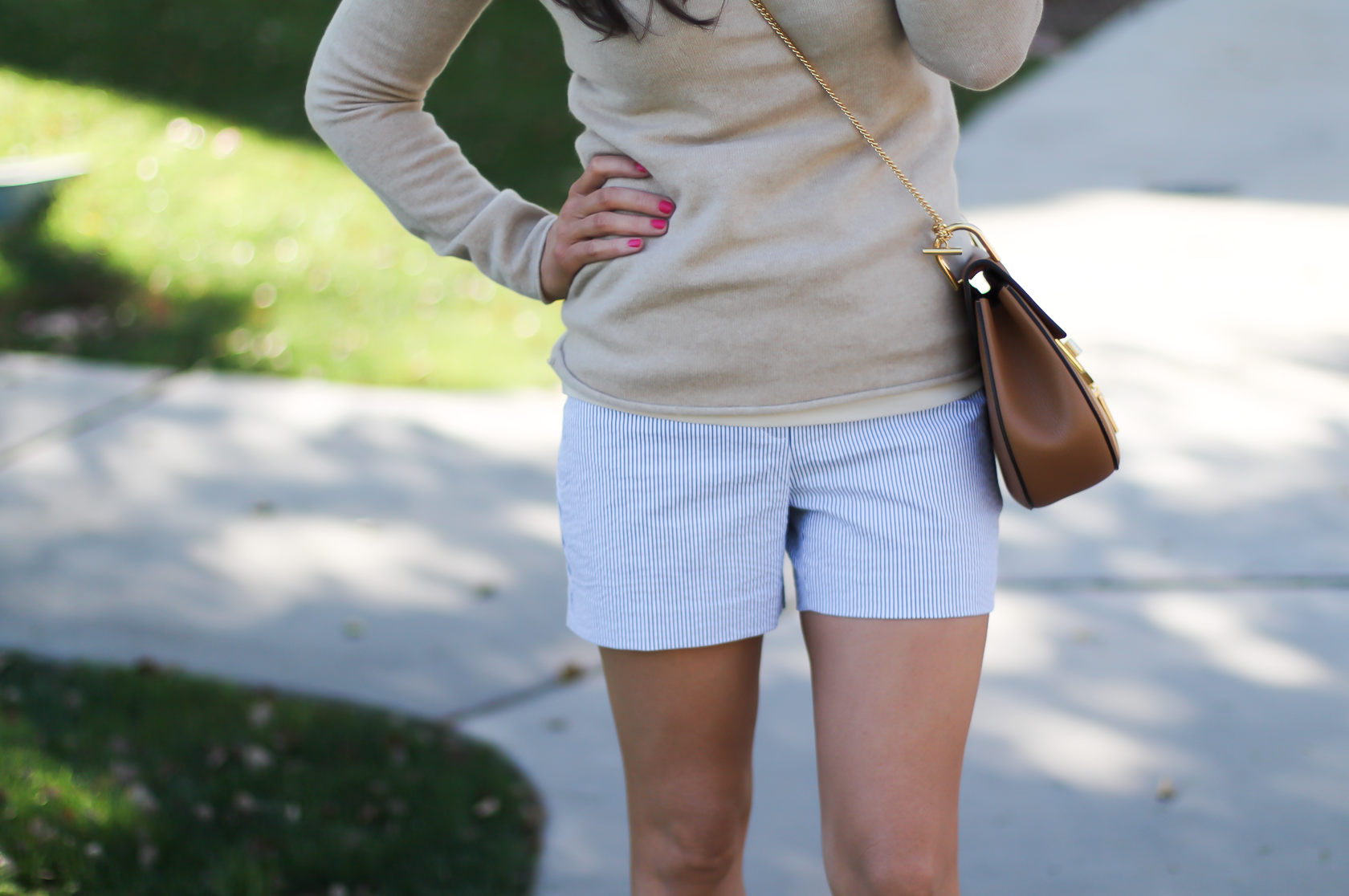 Seersucker Shorts, Tan Cashmere Sweater, Tan Leather Ankle Strap Heels, Tan Leather Chain Strap Bag, Ann Taylor, J.Crew, Steve Madden, Chloe  10