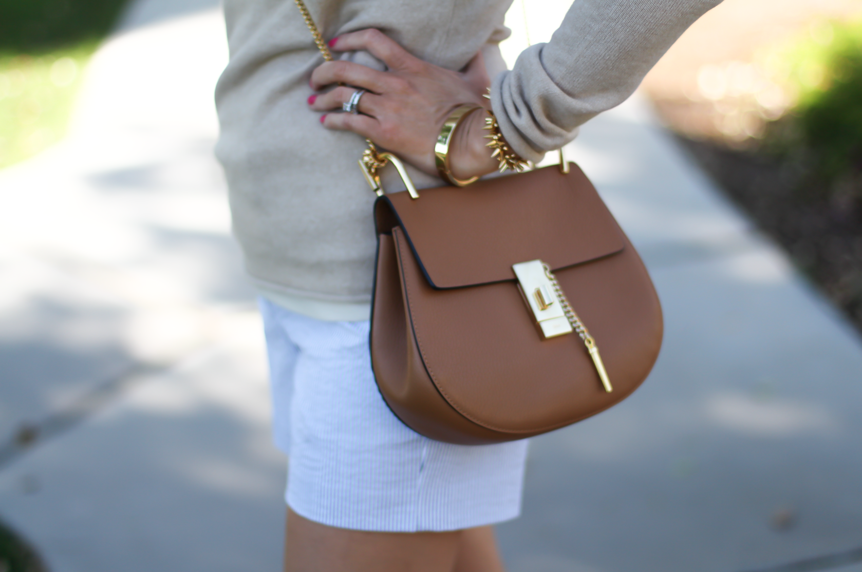 Seersucker Shorts, Tan Cashmere Sweater, Tan Leather Ankle Strap Heels, Tan Leather Chain Strap Bag, Ann Taylor, J.Crew, Steve Madden, Chloe  11