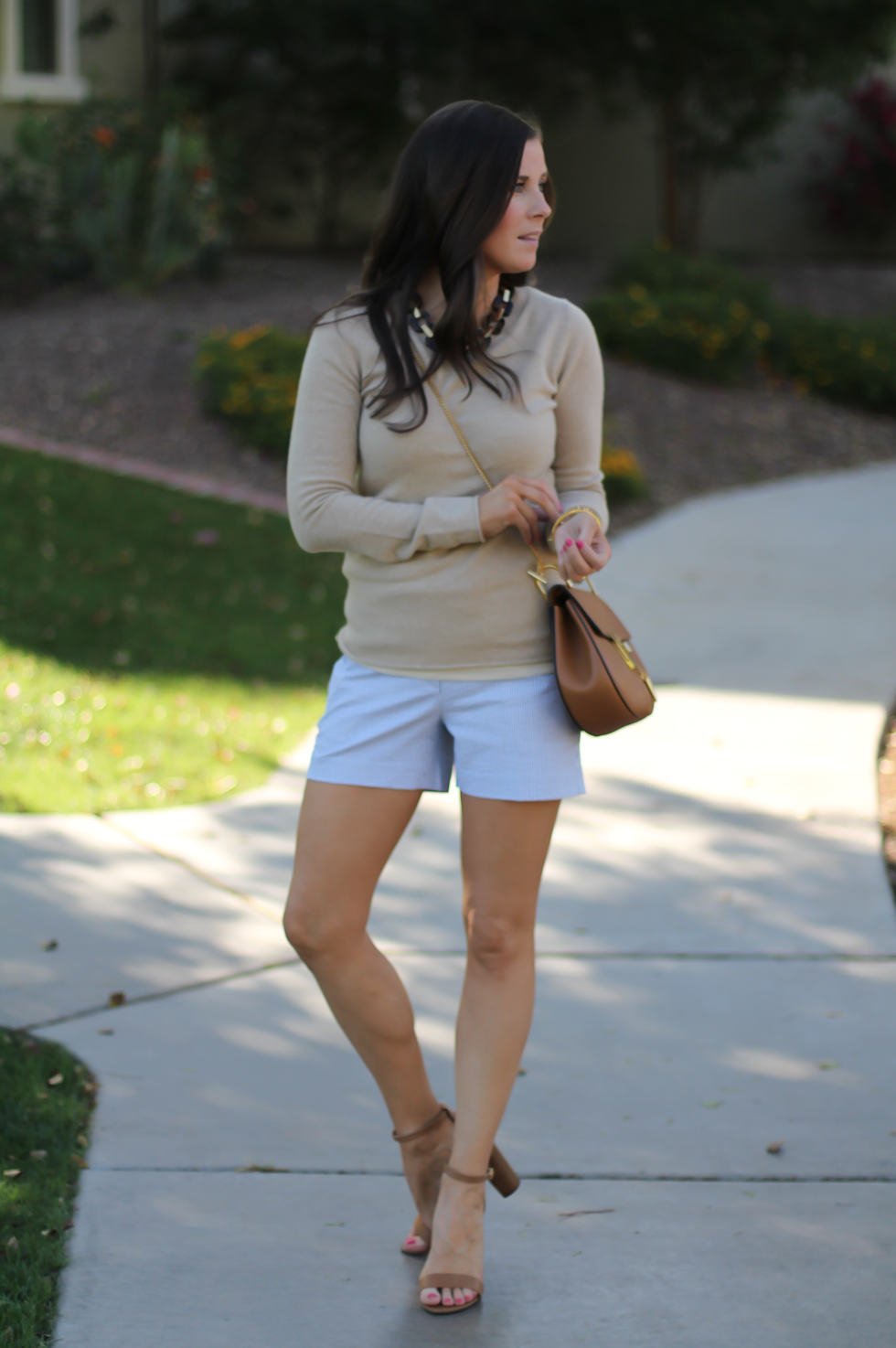 Seersucker Shorts, Tan Cashmere Sweater, Tan Leather Ankle Strap Heels, Tan Leather Chain Strap Bag, Ann Taylor, J.Crew, Steve Madden, Chloe  2