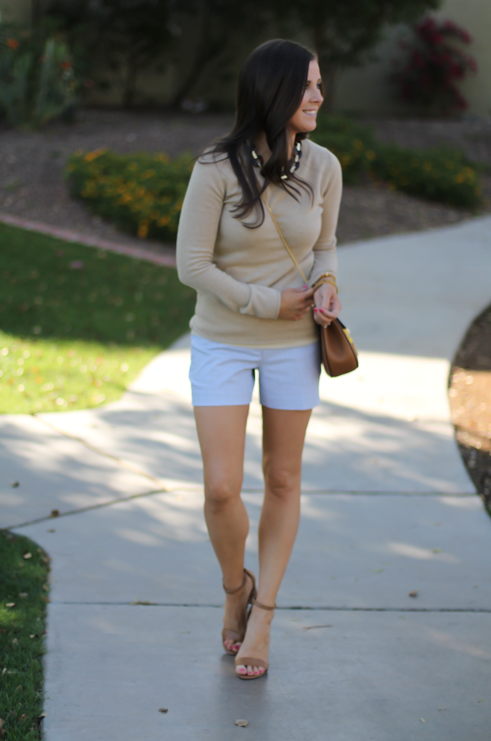 Seersucker Shorts, Tan Cashmere Sweater, Tan Leather Ankle Strap Heels, Tan Leather Chain Strap Bag, Ann Taylor, J.Crew, Steve Madden, Chloe  3