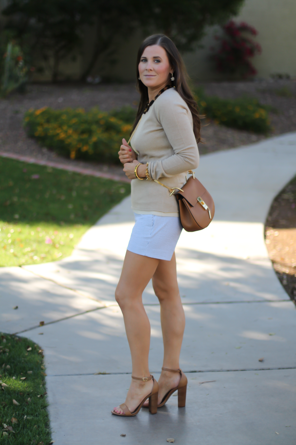 Seersucker Shorts, Tan Cashmere Sweater, Tan Leather Ankle Strap Heels, Tan Leather Chain Strap Bag, Ann Taylor, J.Crew, Steve Madden, Chloe  4