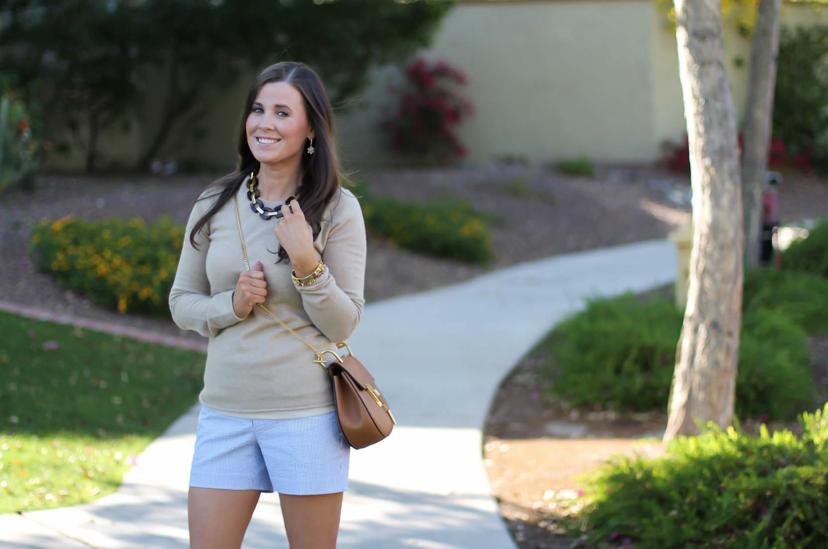Seersucker Shorts, Tan Cashmere Sweater, Tan Leather Ankle Strap Heels, Tan Leather Chain Strap Bag, Ann Taylor, J.Crew, Steve Madden, Chloe  5