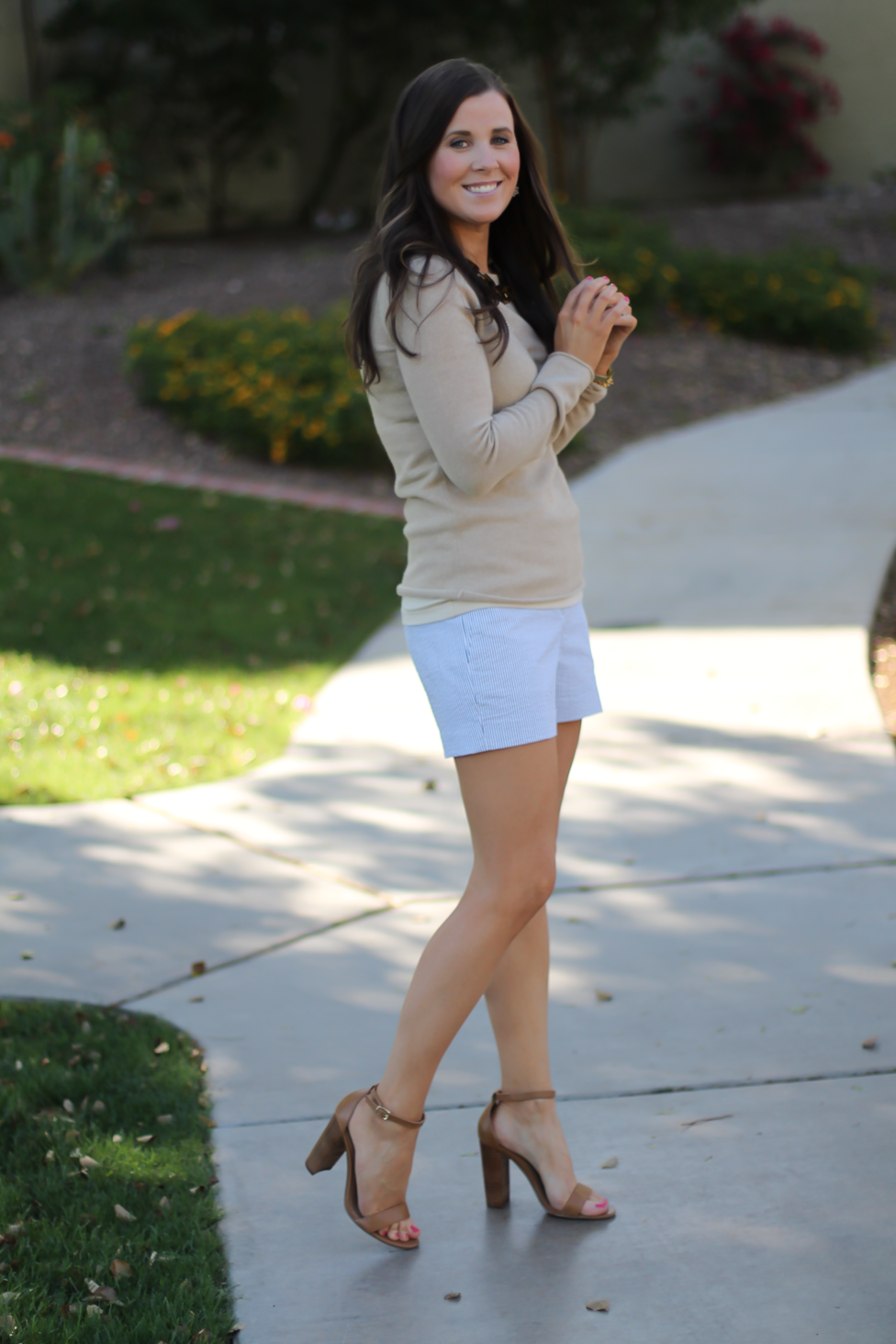 Seersucker Shorts, Tan Cashmere Sweater, Tan Leather Ankle Strap Heels, Tan Leather Chain Strap Bag, Ann Taylor, J.Crew, Steve Madden, Chloe  7