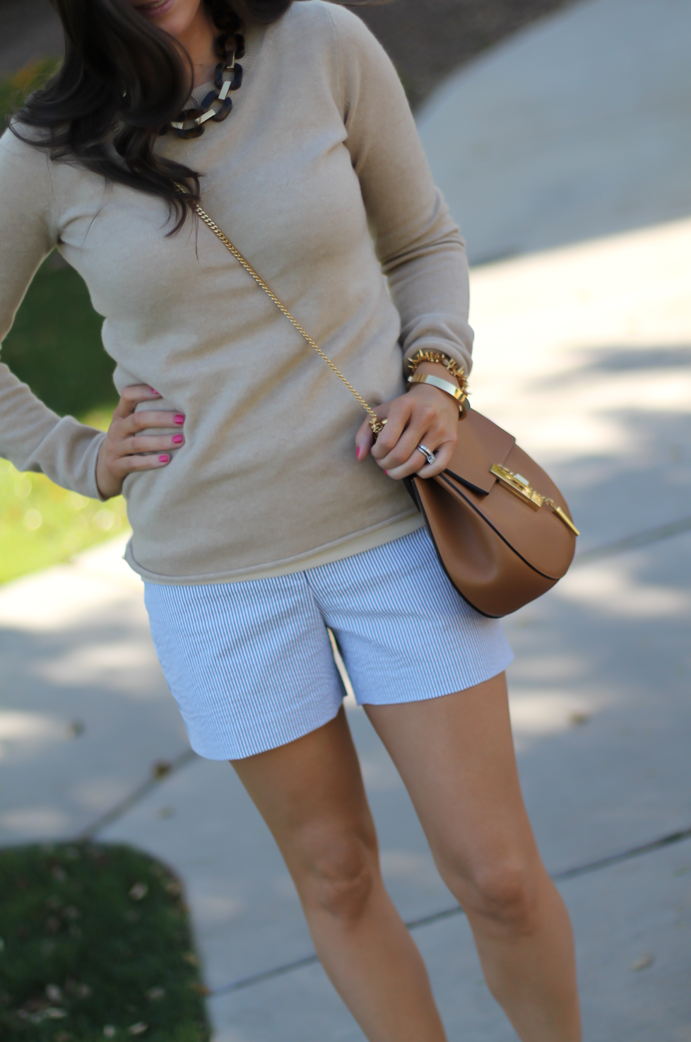 Seersucker Shorts, Tan Cashmere Sweater, Tan Leather Ankle Strap Heels, Tan Leather Chain Strap Bag, Ann Taylor, J.Crew, Steve Madden, Chloe  8
