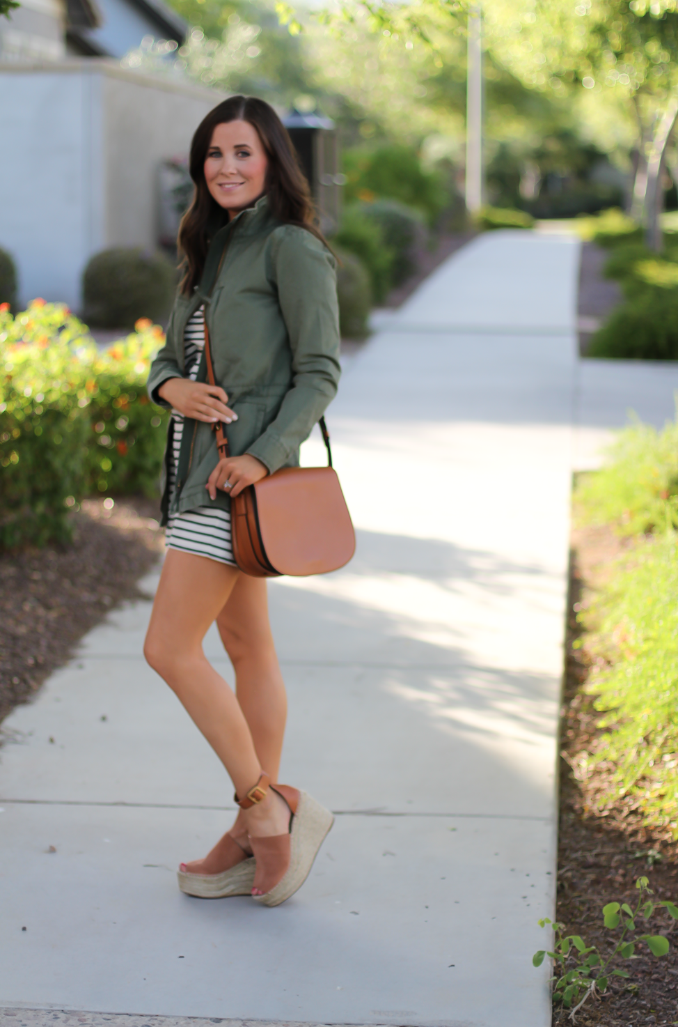 Striped Romper, Green Utility Jacket, Suede Espadrille Wedges, Cognac Saddle Wedges, Madewell, Chloe, Tory Burch 10