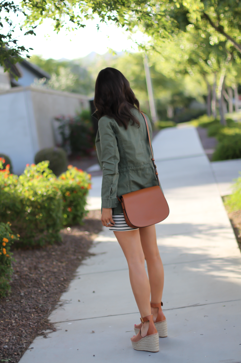 Striped Romper, Green Utility Jacket, Suede Espadrille Wedges, Cognac Saddle Wedges, Madewell, Chloe, Tory Burch 12