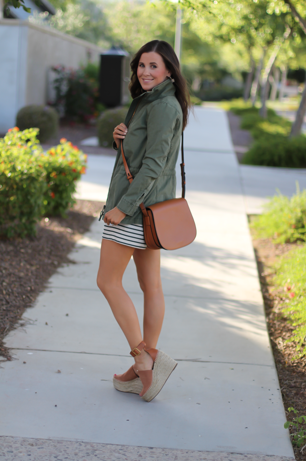 Striped Romper, Green Utility Jacket, Suede Espadrille Wedges, Cognac Saddle Wedges, Madewell, Chloe, Tory Burch 13