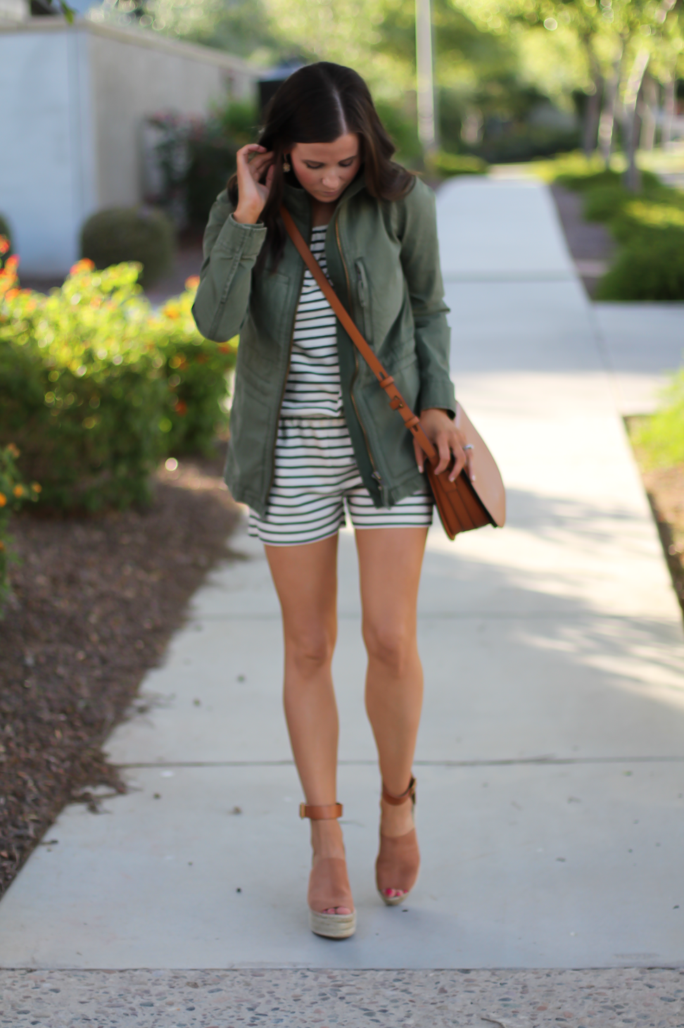 Striped Romper, Green Utility Jacket, Suede Espadrille Wedges, Cognac Saddle Wedges, Madewell, Chloe, Tory Burch 16