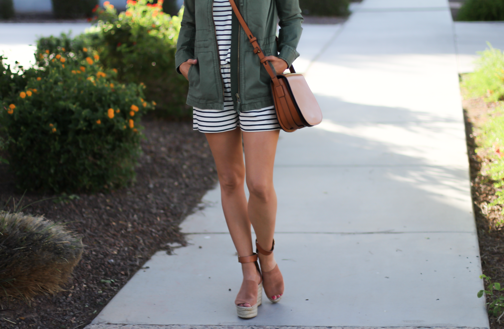 Striped Romper, Green Utility Jacket, Suede Espadrille Wedges, Cognac Saddle Wedges, Madewell, Chloe, Tory Burch 17