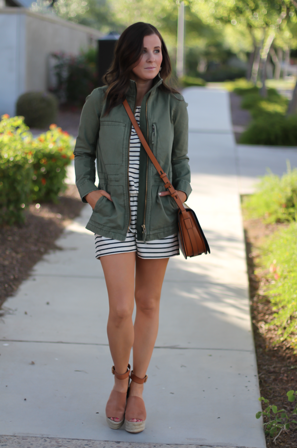 Striped Romper, Green Utility Jacket, Suede Espadrille Wedges, Cognac Saddle Wedges, Madewell, Chloe, Tory Burch 2