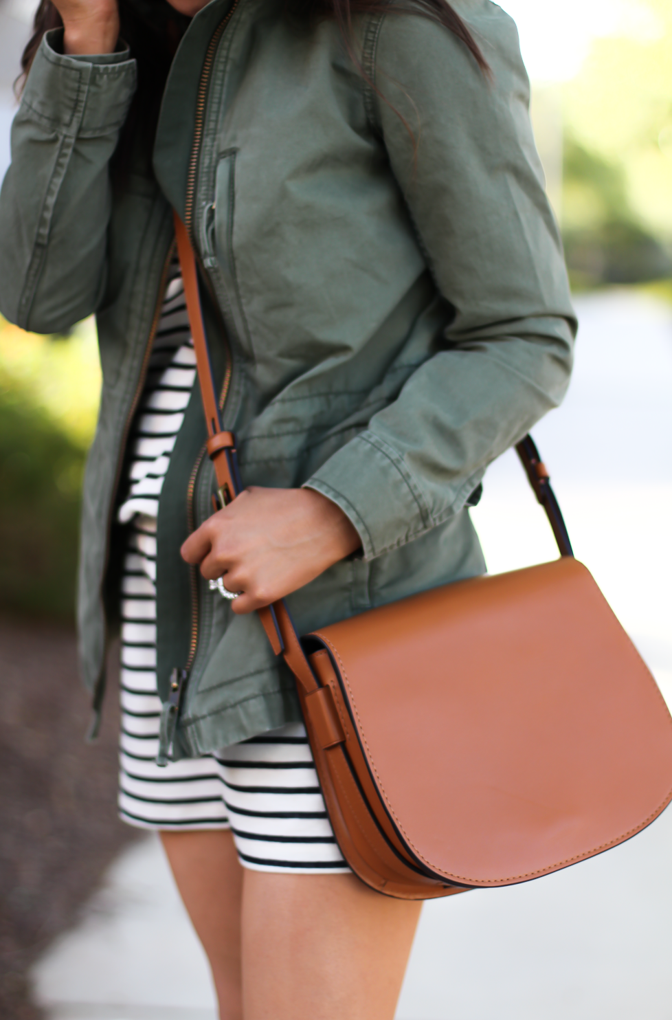 Striped Romper, Green Utility Jacket, Suede Espadrille Wedges, Cognac Saddle Wedges, Madewell, Chloe, Tory Burch 21