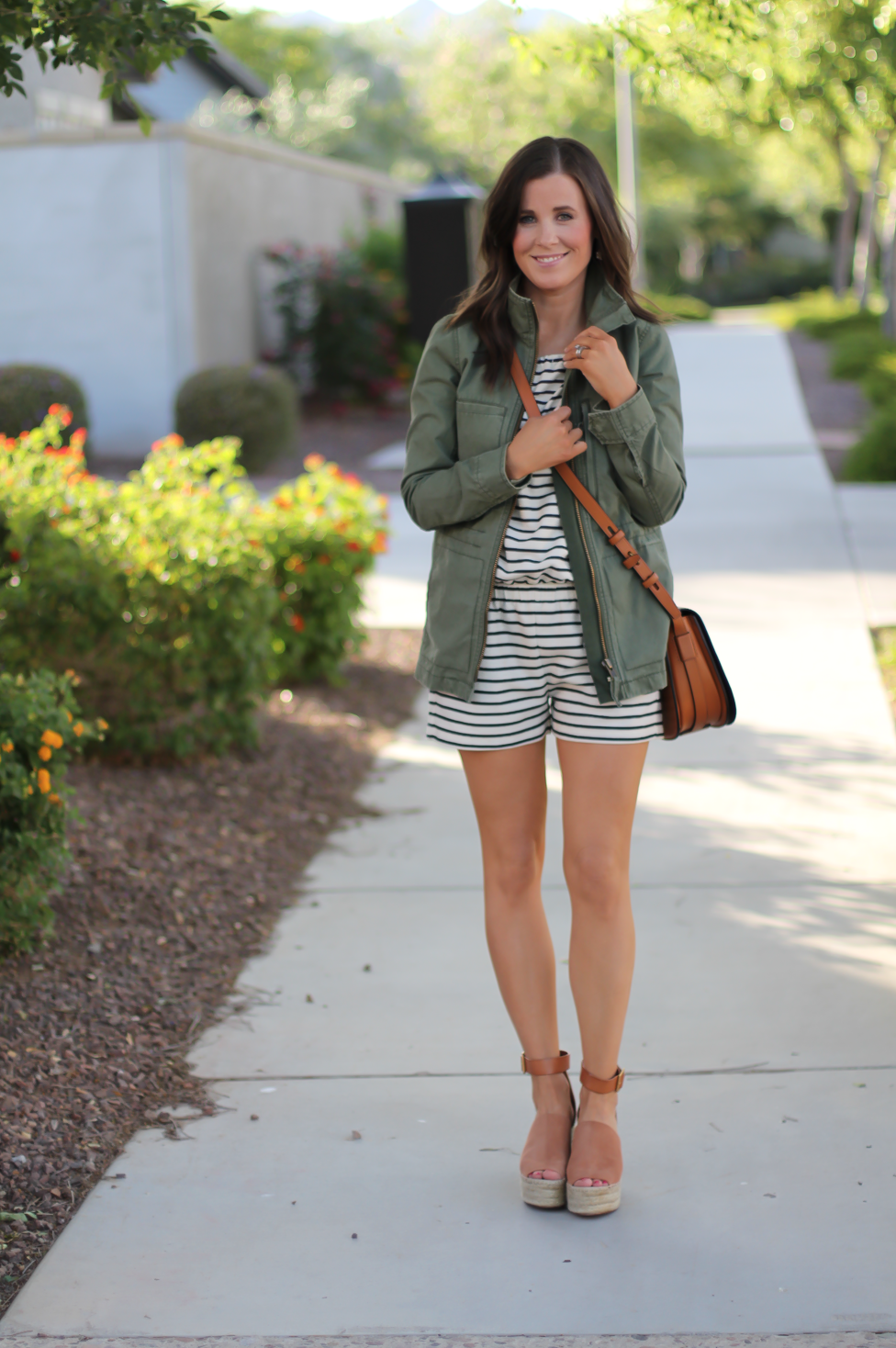 Striped Romper, Green Utility Jacket, Suede Espadrille Wedges, Cognac Saddle Wedges, Madewell, Chloe, Tory Burch 24