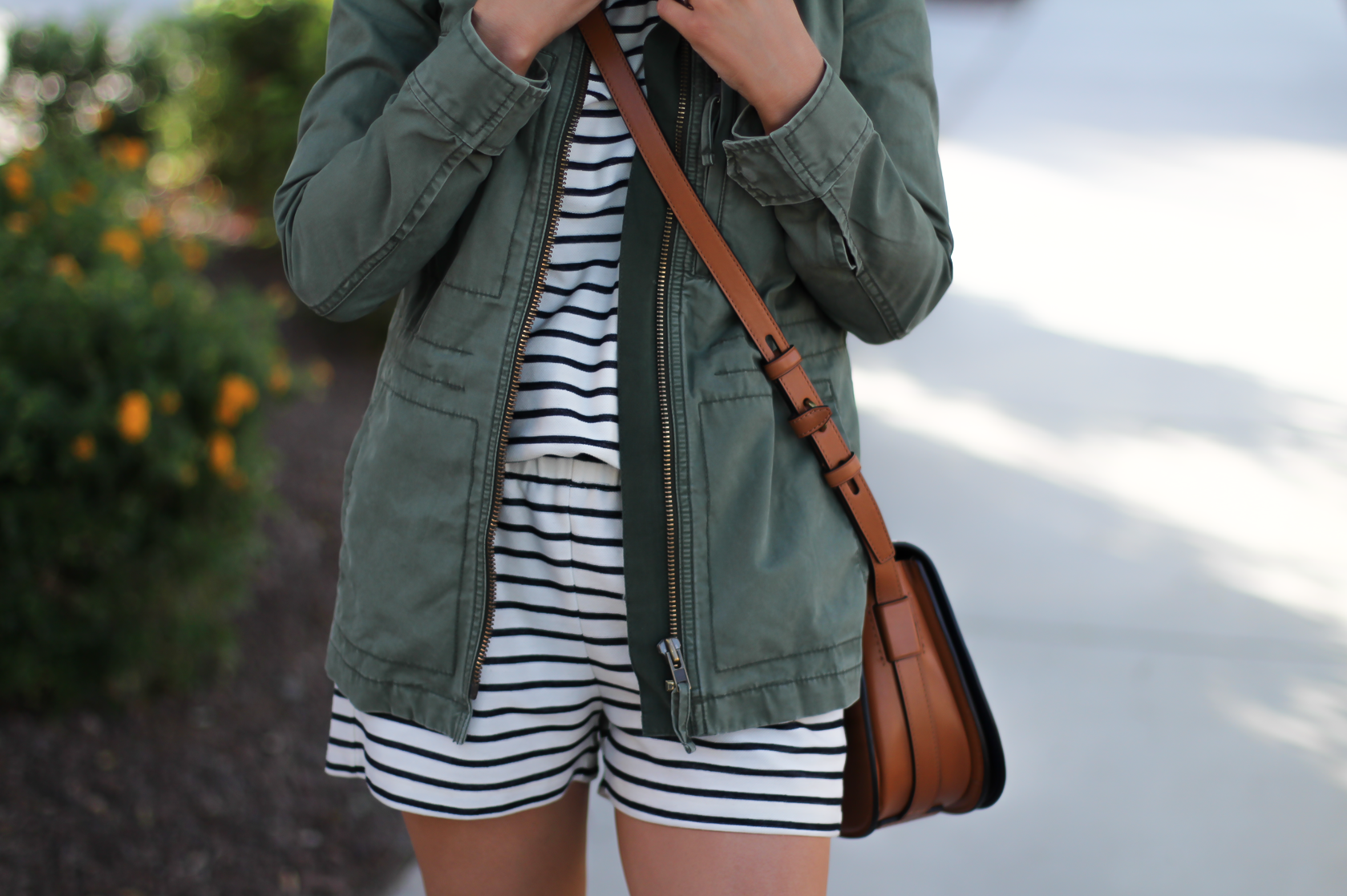 Striped Romper, Green Utility Jacket, Suede Espadrille Wedges, Cognac Saddle Wedges, Madewell, Chloe, Tory Burch 8