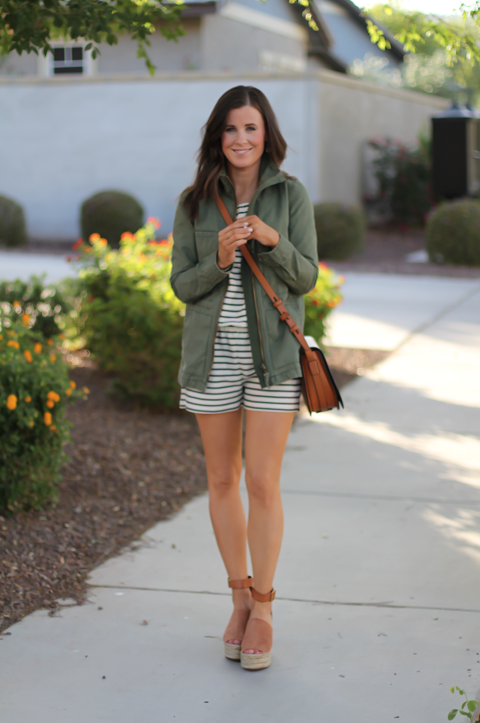 Striped Romper, Green Utility Jacket, Suede Espadrille Wedges, Cognac Saddle Wedges, Madewell, Chloe, Tory Burch