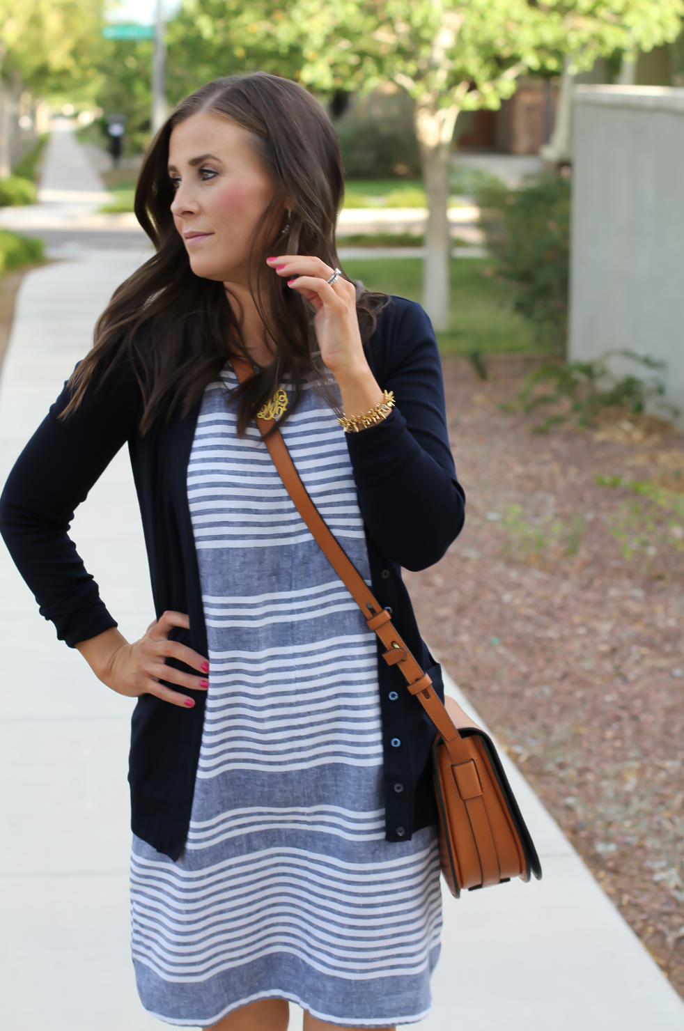 Blue Chambray White Striped Dress, Navy Cotton Cardigan, Tan Suede Espadrilles, Tan Leather Crossbody, Old Navy, J.Crew, Chloe, Tory Burch 12