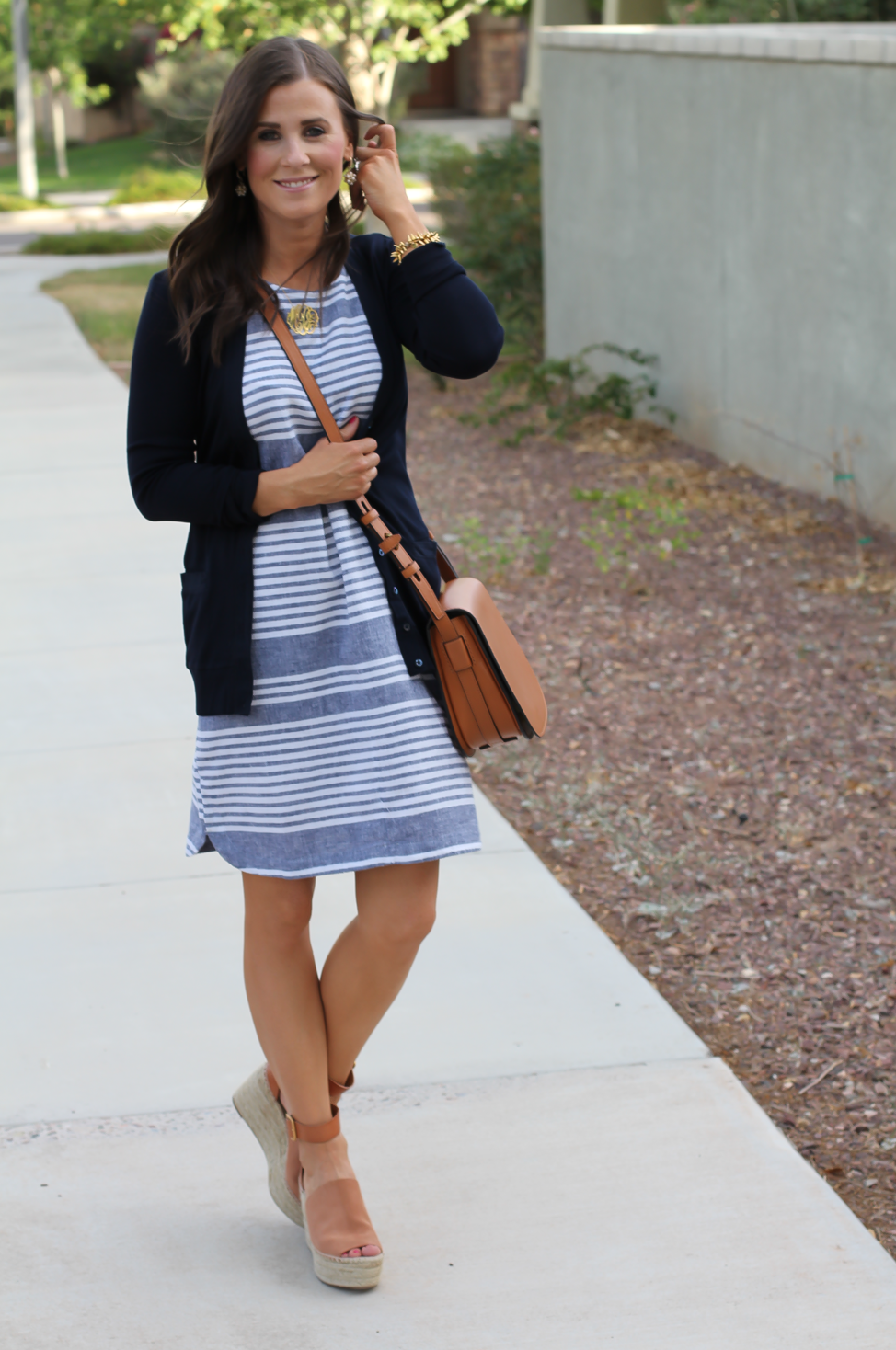 Blue Chambray White Striped Dress, Navy Cotton Cardigan, Tan Suede Espadrilles, Tan Leather Crossbody, Old Navy, J.Crew, Chloe, Tory Burch 16