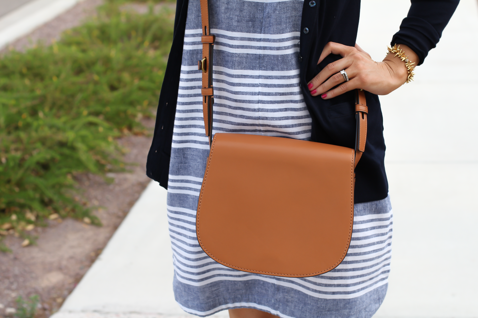 Blue Chambray White Striped Dress, Navy Cotton Cardigan, Tan Suede Espadrilles, Tan Leather Crossbody, Old Navy, J.Crew, Chloe, Tory Burch 18