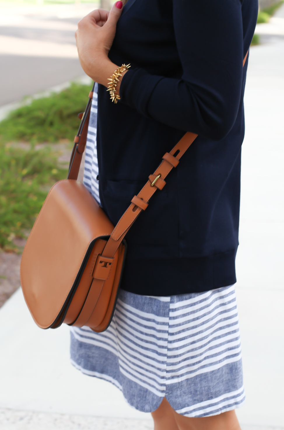 Blue Chambray White Striped Dress, Navy Cotton Cardigan, Tan Suede Espadrilles, Tan Leather Crossbody, Old Navy, J.Crew, Chloe, Tory Burch 21