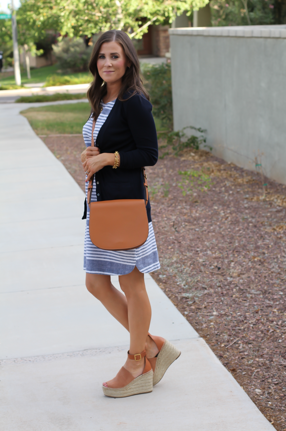 Blue Chambray White Striped Dress, Navy Cotton Cardigan, Tan Suede Espadrilles, Tan Leather Crossbody, Old Navy, J.Crew, Chloe, Tory Burch 4