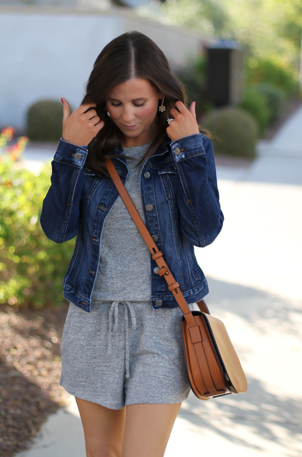 Grey Knit Denim Romper, Denim Jacket, Suede Wedge Sandals, Tan Leather Saddle Bag, Gap, Banana Republic, Chloe, Tory Burch 10