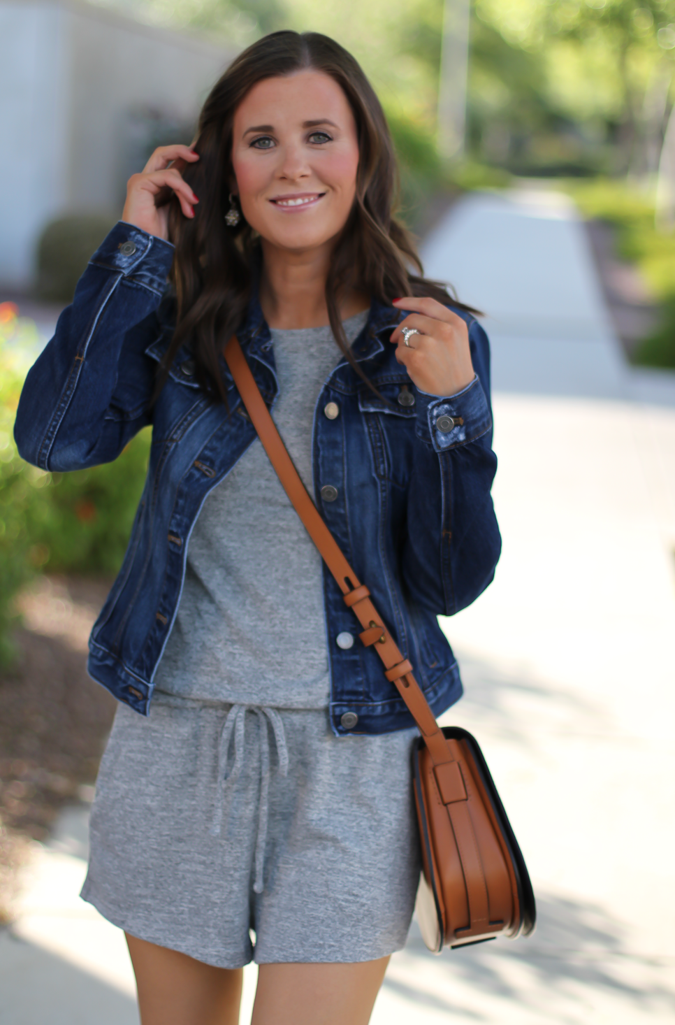 Grey Knit Denim Romper, Denim Jacket, Suede Wedge Sandals, Tan Leather Saddle Bag, Gap, Banana Republic, Chloe, Tory Burch 11