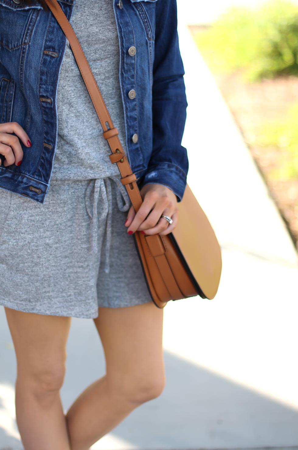 Grey Knit Denim Romper, Denim Jacket, Suede Wedge Sandals, Tan Leather Saddle Bag, Gap, Banana Republic, Chloe, Tory Burch 15