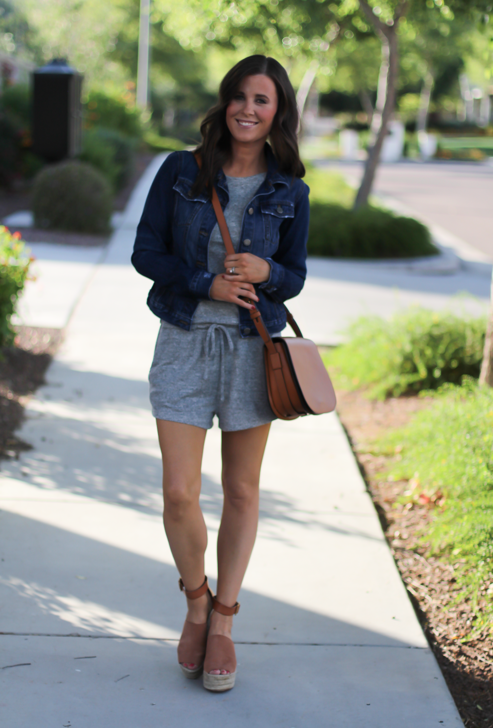 Grey Knit Denim Romper, Denim Jacket, Suede Wedge Sandals, Tan Leather Saddle Bag, Gap, Banana Republic, Chloe, Tory Burch 8