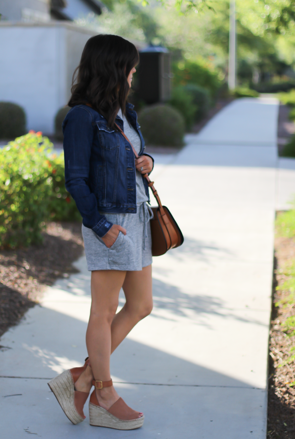 Grey Knit Denim Romper, Denim Jacket, Suede Wedge Sandals, Tan Leather Saddle Bag, Gap, Banana Republic, Chloe, Tory Burch 9