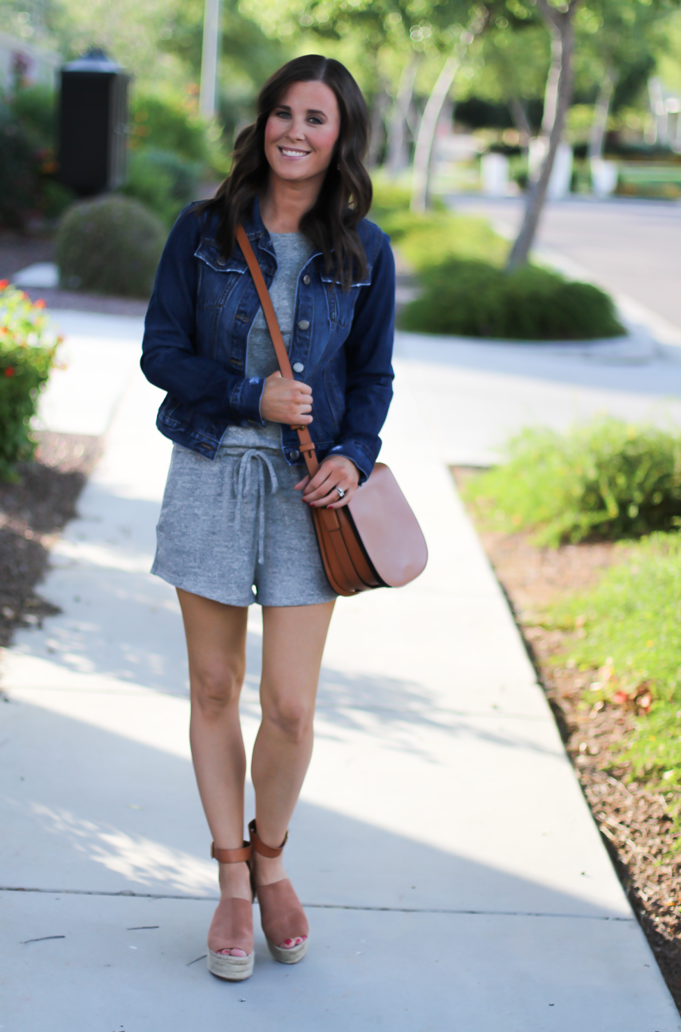 Grey Knit Denim Romper, Denim Jacket, Suede Wedge Sandals, Tan Leather Saddle Bag, Gap, Banana Republic, Chloe, Tory Burch