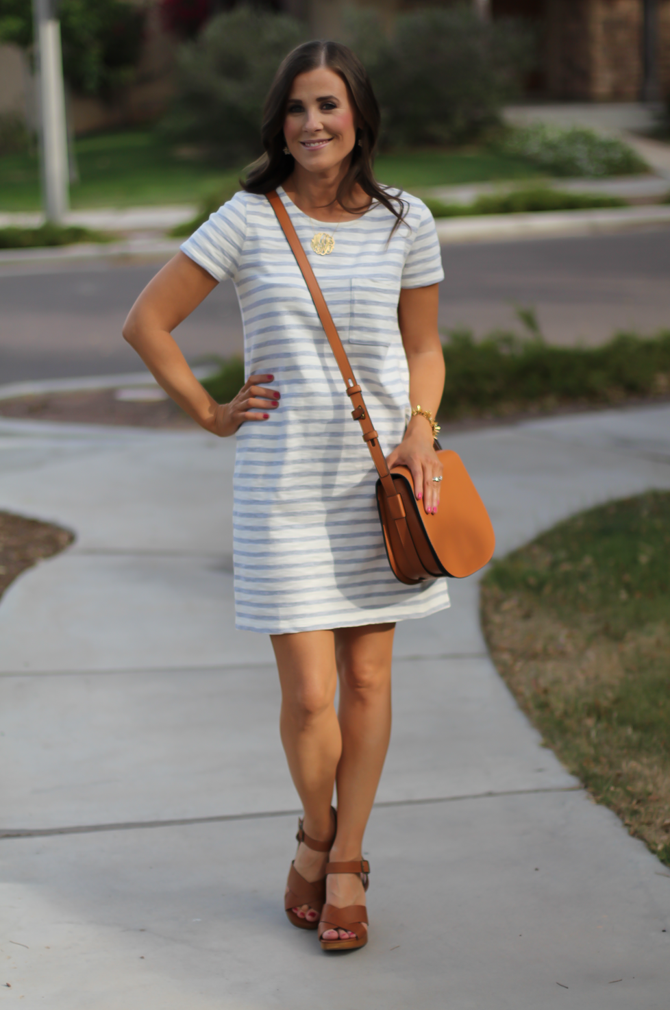 Grey Striped Button Back Short Sleeve Dress, Cognac Leather Wedge Sandals, Cognac Saddlebag, Madewell, Tory Burch 11