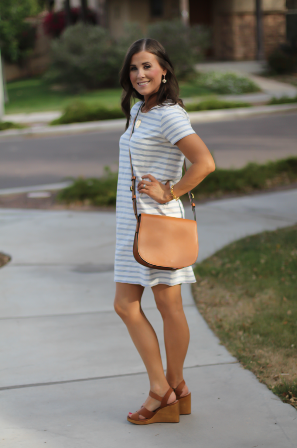 Grey Striped Button Back Short Sleeve Dress, Cognac Leather Wedge Sandals, Cognac Saddlebag, Madewell, Tory Burch 13