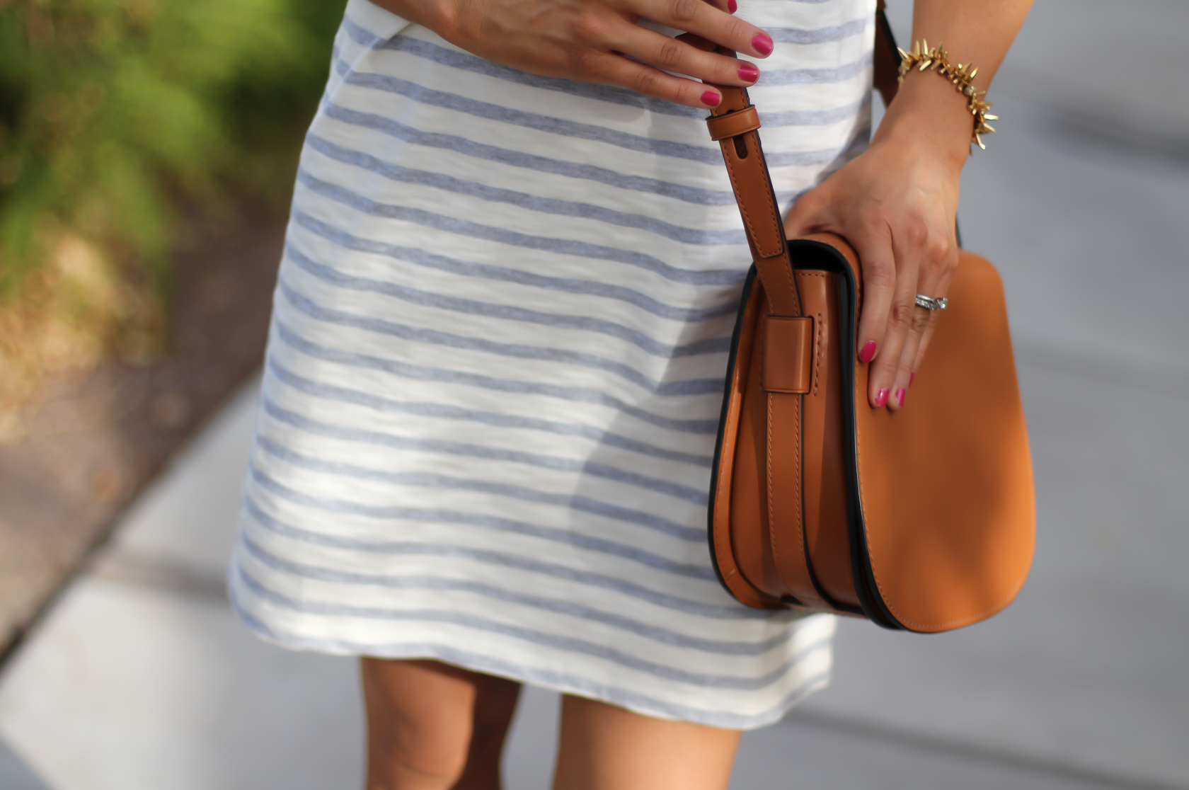 Grey Striped Button Back Short Sleeve Dress, Cognac Leather Wedge Sandals, Cognac Saddlebag, Madewell, Tory Burch 20