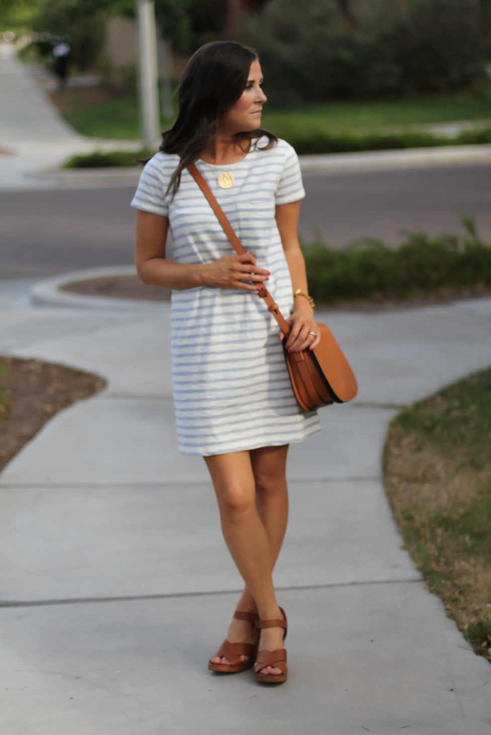 Grey Striped Button Back Short Sleeve Dress, Cognac Leather Wedge Sandals, Cognac Saddlebag, Madewell, Tory Burch 6