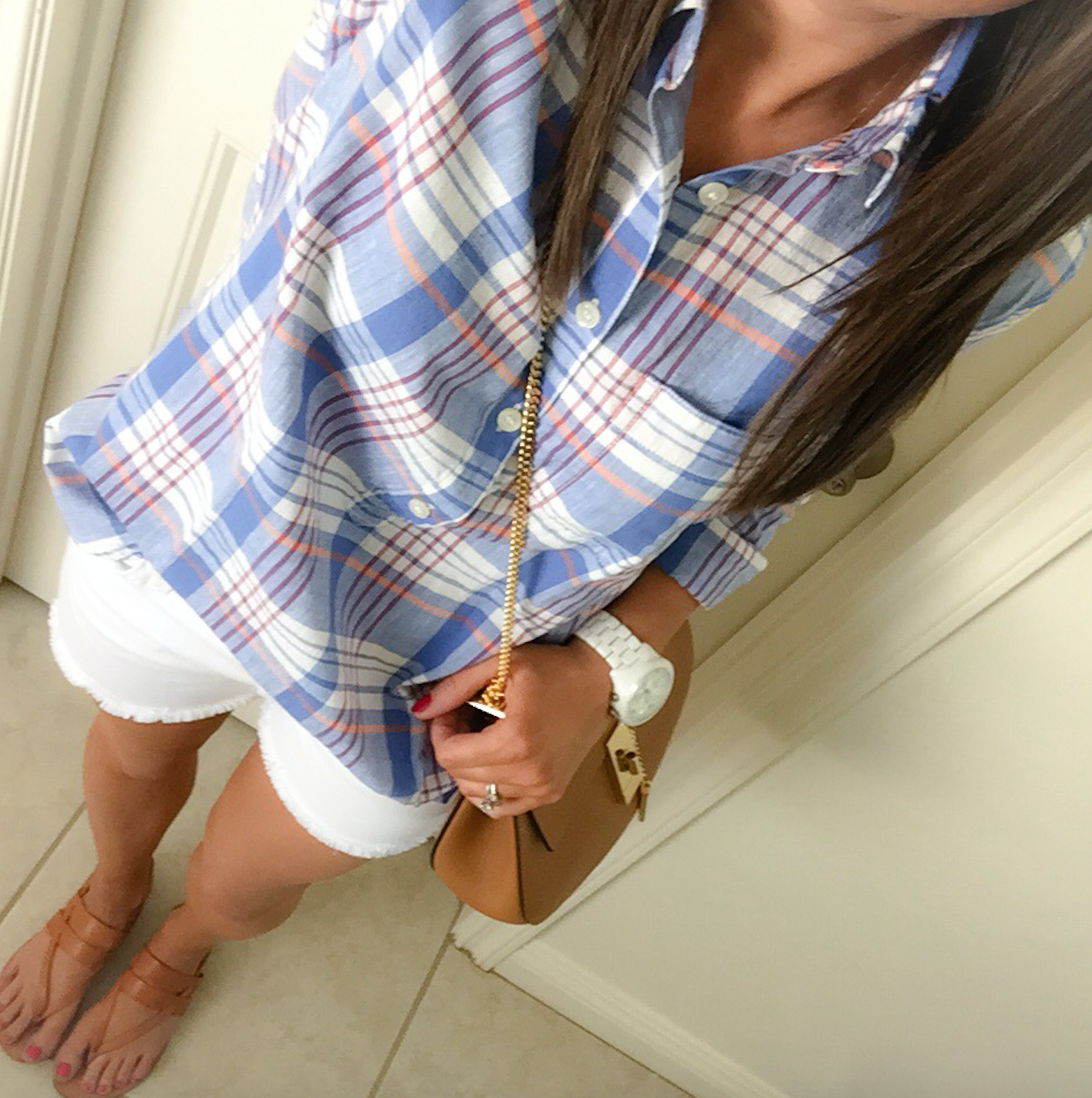 Ivory Blouse + Plaid Popover