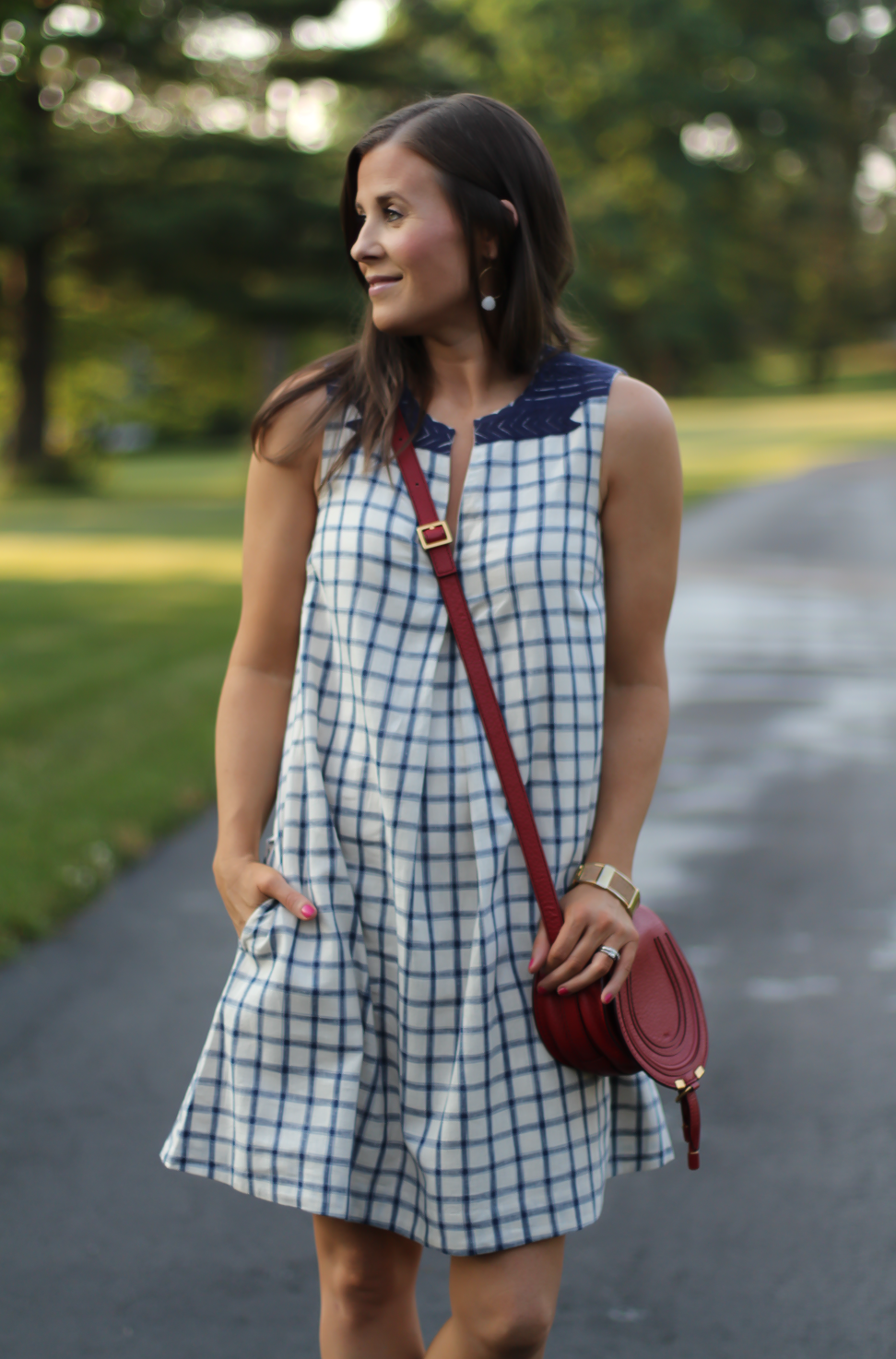Blue Embroidered Plaid Dress, Red Saddlebag Crossbody, Tan Strap Sandals, Madewell, Chloe, Zimmermann 10