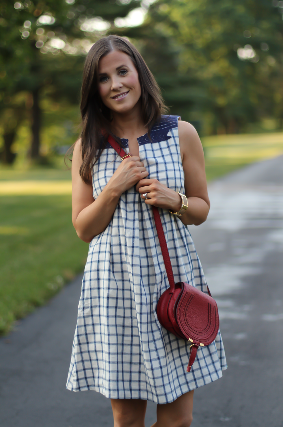 Blue Embroidered Plaid Dress, Red Saddlebag Crossbody, Tan Strap Sandals, Madewell, Chloe, Zimmermann 11