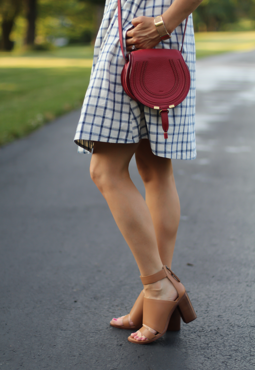 Blue Embroidered Plaid Dress, Red Saddlebag Crossbody, Tan Strap Sandals, Madewell, Chloe, Zimmermann 13