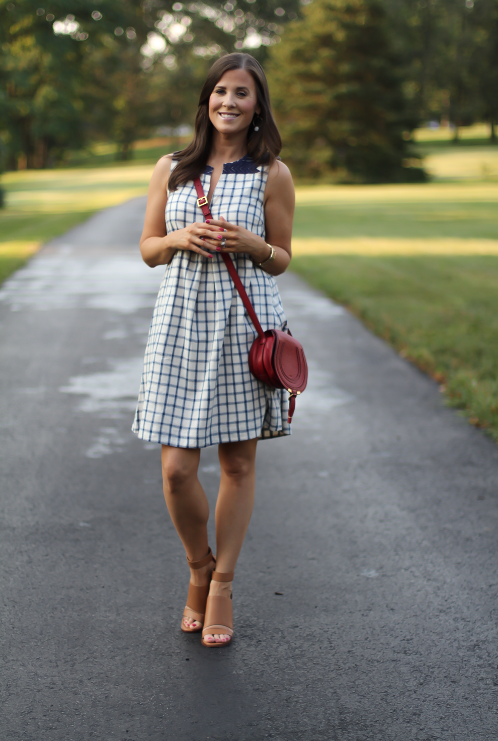 Blue Embroidered Plaid Dress, Red Saddlebag Crossbody, Tan Strap Sandals, Madewell, Chloe, Zimmermann 2
